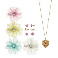 Girls 4-16 Elli by Capelli Hair Clips, Necklace & Earrings Set