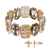 Believe In Two Tone Cross Stretch Bracelet & Stud Earring Set
