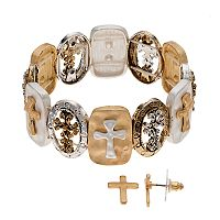 Believe In Two Tone Cross Stretch Bracelet & Stud Earring Set