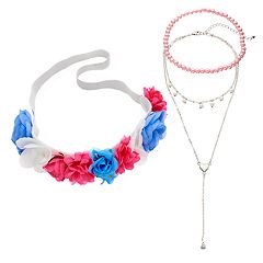 Girls 4-16 Elli by Capelli Flower Headwrap & Choker Necklace Set
