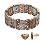 "Believe In ""Love"" Heart Stretch Bracelet & Stud Earring Set"