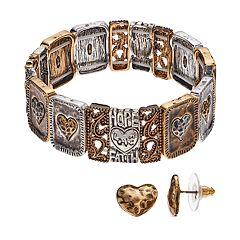 Believe In 'Love' Heart Stretch Bracelet & Stud Earring Set
