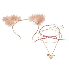 Girls 4-16 Elli by Capelli Flower Cat Ear Headband & Choker Necklace Set