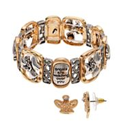Believe In 'Watching Over You' Angel Stretch Bracelet & Earring Set