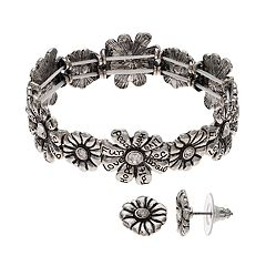 Believe In 'Peace, Fun, Love' Flower Stretch Bracelet & Earring Set