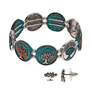 Believe In 'Tree Of Life' Stretch Bracelet & Stud Earring Set