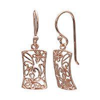 PRIMROSE 14k Rose Gold Over Silver Flower Filigree Drop Earrings