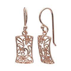 PRIMROSE 14k Rose Gold Over Silver Flower Filigree Drop Earrings