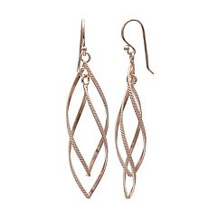 PRIMROSE 14k Rose Gold Over Silver Twist Marquise Drop Earrings