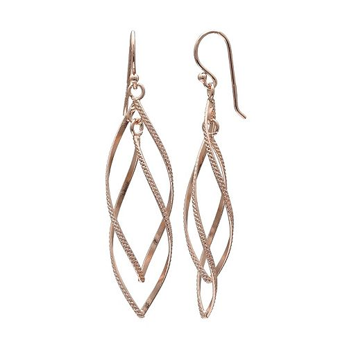 PRIMROSE 18k Rose Gold Over Silver Twist Marquise Drop Earrings