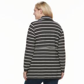 Plus Size Dana Buchman Striped Open-Front Jacket