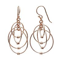 PRIMROSE 14k Rose Gold Over Silver Ball Circle Drop Earrings
