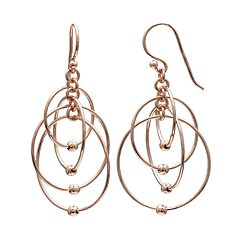 PRIMROSE 14k Rose Gold Over Silver Ball Circle Drop Earrings