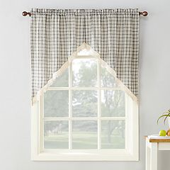 No918 Maisie Plaid Kitchen Curtain Swag Valance Set