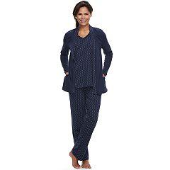 Women's Croft & Barrow® Pajamas: Knit Tank, Cardigan & Pants 3 pc PJ Set