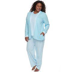 Plus Size Croft & Barrow® Pajamas: Knit Tank, Cardigan & Pants 3 pc PJ Set