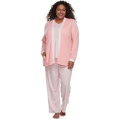 Plus Size Croft & Barrow® Pajamas: Knit Tank, Cardigan & Pants 3 pc PJ Set