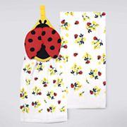 Celebrate Spring Together Ladybug Tie-Top Kitchen Towel 2 pk