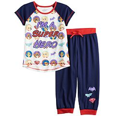Girls 4-16 DC Comics Super Hero Girls Batgirl, Supergirl & Wonder Woman 'I'm A Super Hero' Top & Bottoms Pajama Set