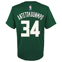 Boys 4-7 Milwaukee Bucks Giannis Antetokounmpo Name and Number Tee