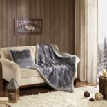 Woolrich Plush Plaid Faux Fur Throw