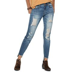 Juniors' Indigo Rein Mid-Rise Destructed Step Hem Skinny Jeans