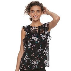 Juniors' Candie's® Floral Ruffle Top