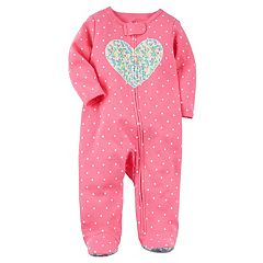 Baby Girl Carter's Floral Heart Dotted Sleep & Play