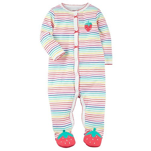 Baby Girl Carter's Rainbow Striped Strawberry Sleep & Play