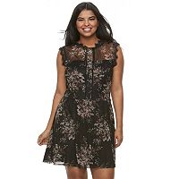 Juniors' Plus Size Speechless Printed Lace Skater Dress