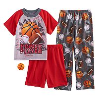Boys 4-12 Up-Late Power Play 3-Piece Pajama Set