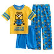 Boys 4-10 Minion 3-Piece Pajama Set