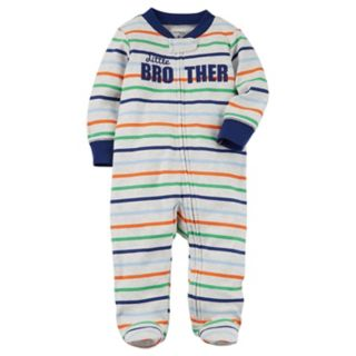 "Baby Boy Carter's Striped ""Little Brother"" Sleep & Play"