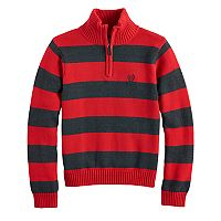 Boys 4-20 Chaps Striped Quarter-Zip Sweater