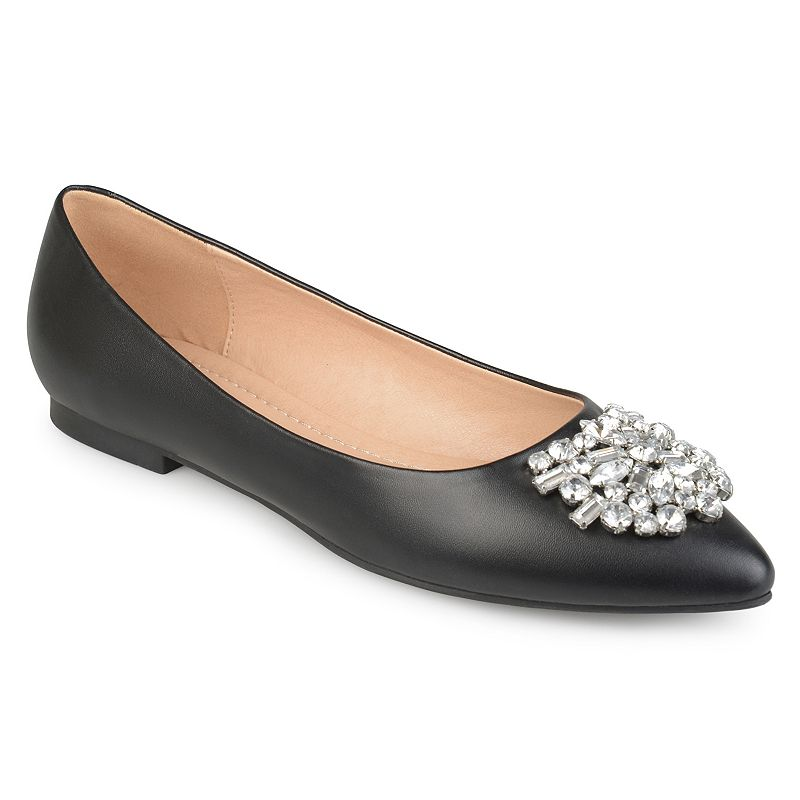 Step into elegant style with these Renzo flats by Journee Collection. SHOE FEATURES Jeweled accent SHOE CONSTRUCTION Faux leather upper Fabric lining Manmade outsole SHOE DETAILS Pointed toe Slip on Padded footbed 0.4-in. heel  Size: Medium (10). Color: Black. Gender: female. Age Group: adult.