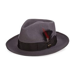 Men's Scala Wool Felt Snap-Brim Fedora With Feather