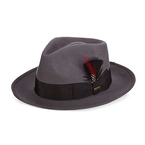 Men's Scala Wool Felt Snap-Brim Fedora With Feather