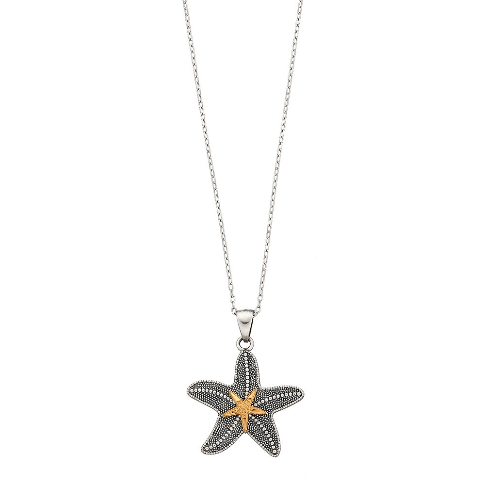 Sterling silver 14k gold over silver starfish pendant necklace aloadofball Choice Image