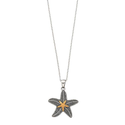Sterling Silver & 14k Gold Over Silver Starfish Pendant Necklace