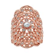 Brilliance Flower Scalloped Ring with Swarovski Crystals