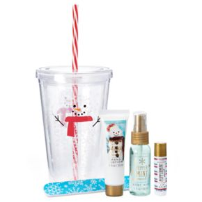 Simple Pleasures Peppermint Swirl Hand Lotion, Lip Balm, Body Mist & Nail File Snowman Gift Set