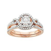 10k Rose Gold 3/8 Carat T.W. Diamond Halo Engagement Ring Set