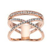 Brilliance X & Bar Ring with Swarovski Crystals