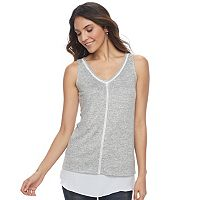 Women's Apt. 9® Mixed-Media Double-Layer Tank