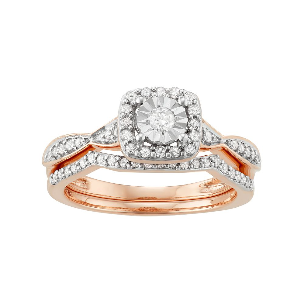 10k Rose Gold 3 8 Carat Tw Diamond Square Halo Engagement Ring