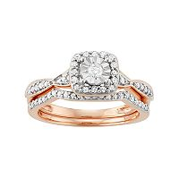 10k Rose Gold 3/8 Carat T.W. Diamond Square Halo Engagement Ring Set