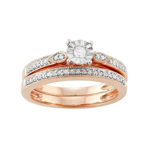 10k Rose Gold 1/4 Carat T.W. Diamond Engagement Ring Set