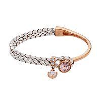 Brilliance Cubic Zirconia Braided White Leather Bracelet with Swarovski Crystals