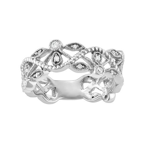 10k White Gold 1/5 Carat T.W. Diamond Wave Ring