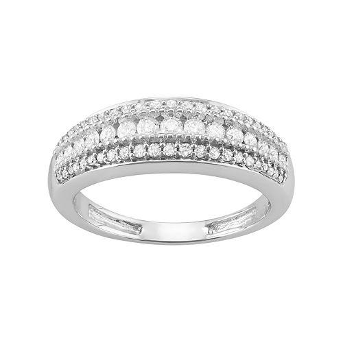 10k White Gold 1/2 Carat T.W. Diamond Multi Row Ring